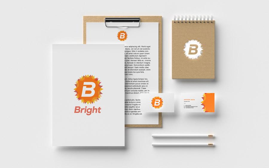 Diseño de identidad de la marca bright limpiador de muebles