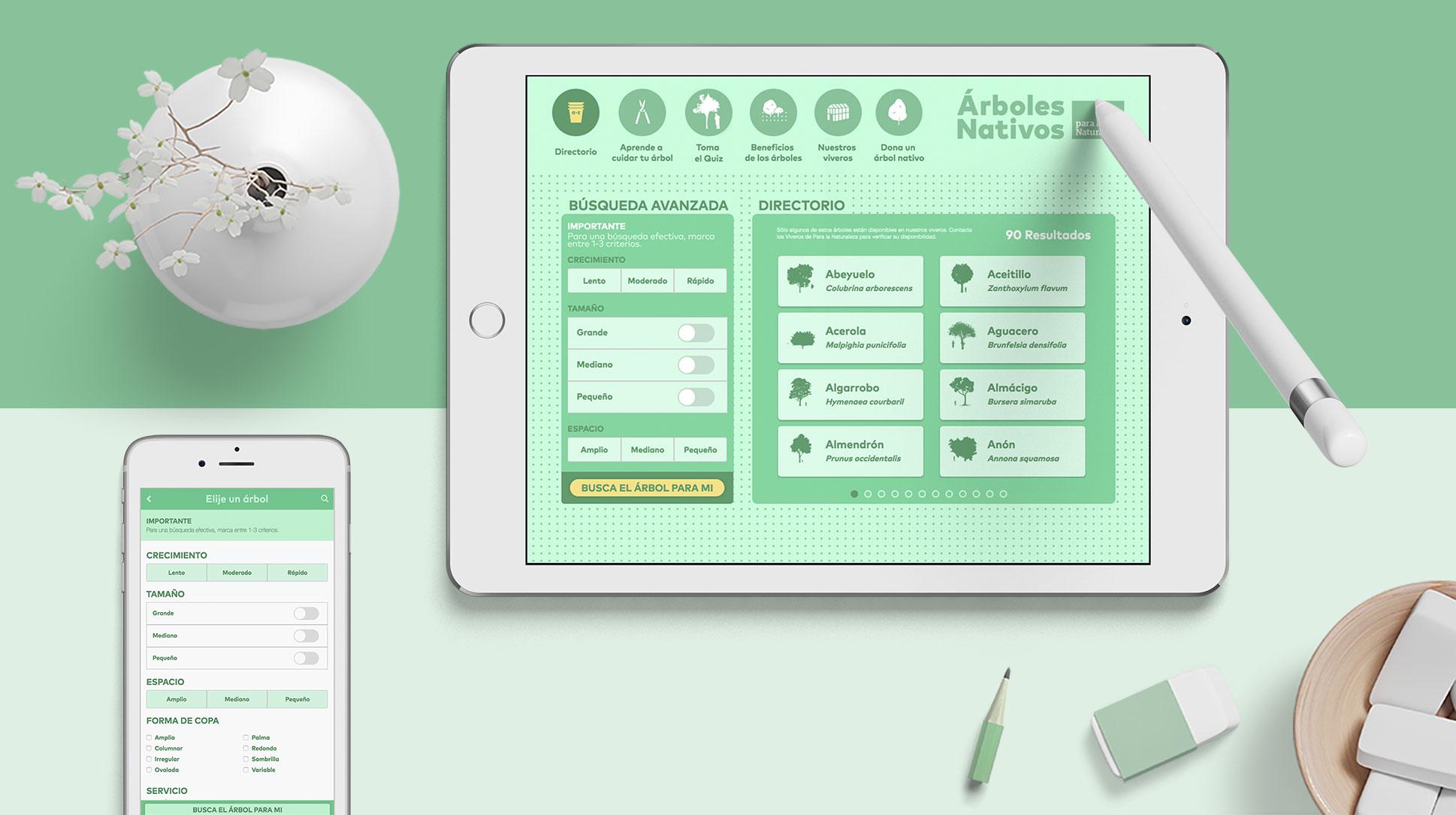 Creación de una Web App con alto diseño en Arboles nativos