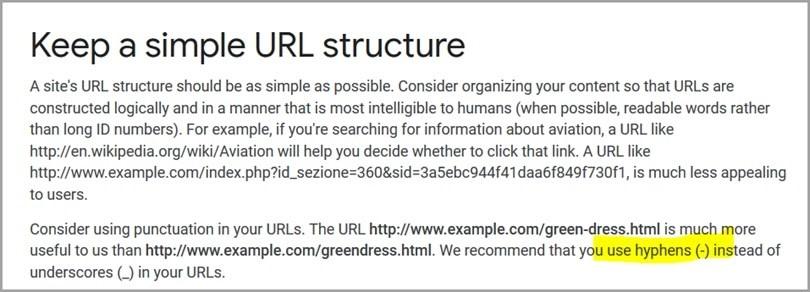 Uso de guiones para separar palabras en URLs.