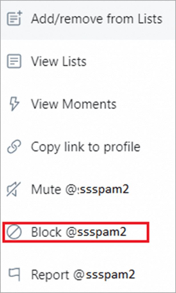 Bloquear un trol o spammer en Twitter