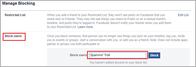Lista de usuarios bloqueados en Facebook