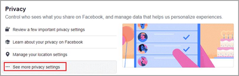 Facebook. Opciones de privacidad.