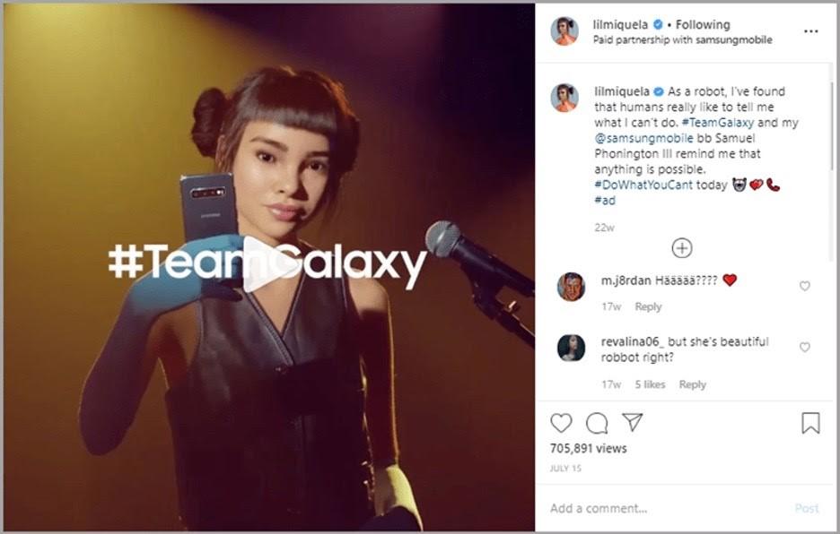 Campaña de Samsung con influencer virtual